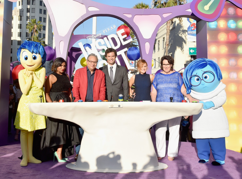 HOLLYWOOD, CA - JUNE 08: (L-R) Joy, actors Mindy Kaling, Lewis Black, Bill Hader, Amy Poehler and Phyllis Smith and Sadness attend the Los Angeles Premiere and Party for Disney?Pixar?s INSIDE OUT at El Capitan Theatre on June 8, 2015 in Hollywood, California.  (Photo by Alberto E. Rodriguez/Getty Images for Disney) *** Local Caption *** Mindy Kaling; Lewis; Bill Hader; Amy Poehler; Phyllis Smith; Joy; Sadness