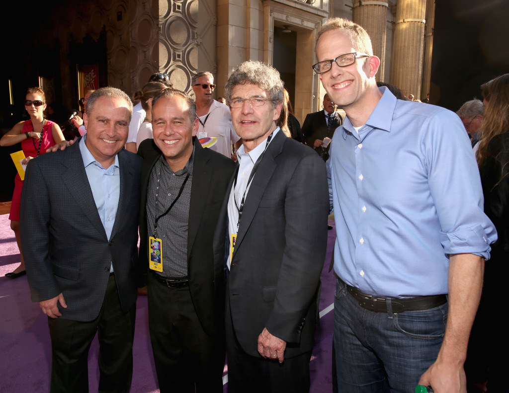 HOLLYWOOD, CA - JUNE 08: (L-R) President, The Walt Disney Studios, Alan Bergman, producer Jonas Rivera, Chairman of The Walt Disney Studios, Alan Horn and director/writer/screenwriter Pete Docter attend the Los Angeles Premiere and Party for Disney?Pixar?s INSIDE OUT at El Capitan Theatre on June 8, 2015 in Hollywood, California.  (Photo by Jesse Grant/Getty Images for Disney) *** Local Caption *** Alan Bergman; Jonas Rivera; Alan Horn; Pete Docter