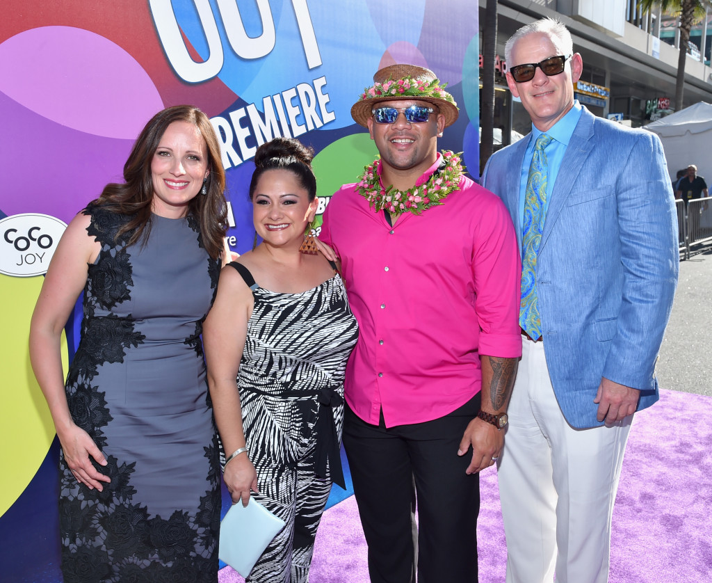 HOLLYWOOD, CA - JUNE 08: From the short film LAVA producer Andrea Warren, signers Napua Greig and Kuana Torres-Kahele and director Jim Murphy attend the Los Angeles Premiere and Party for Disney?Pixar?s INSIDE OUT at El Capitan Theatre on June 8, 2015 in Hollywood, California.  (Photo by Alberto E. Rodriguez/Getty Images for Disney) *** Local Caption *** Andrea Warren; Napua Greig; Kuana Torres-Kahele; Jim Murphy