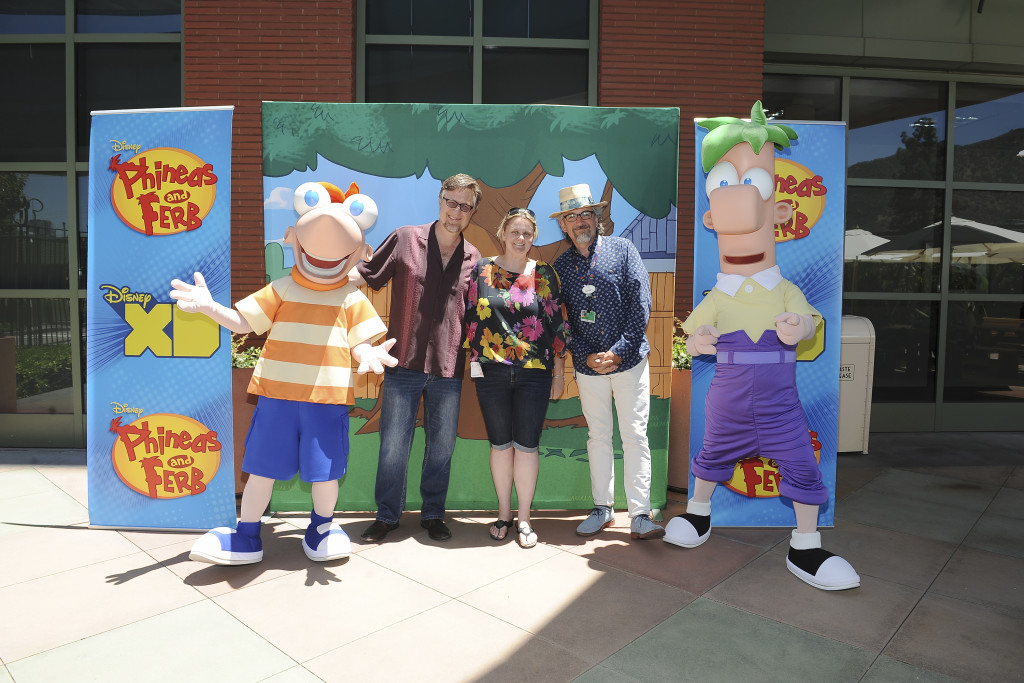 "PHINEAS AND FERB - ""Phineas and Ferb"" creators and executive producers Dan Povenmire and Jeff ""Swampy"" Marsh at a screening event to promote the ""Last Day of Summer"" in Burbank California on Monday, June 8. ""Phineas and Ferb: Last Day of Summer,"" premieres Friday, June 12 at 9:00 p.m. ET/PT as a simulcast on Disney XD and Disney Channel. (Disney XD/Valerie Macon) PHINEAS, DAN POVENMIRE (CO-CREATOR/EXECUTIVE PRODUCER, ""PHINEAS AND FERB""), JEFF ""SWAMPY"" MARSH (CO-CREATOR/EXECUTIVE PRODUCER, ""PHINEAS AND FERB""), FERB"