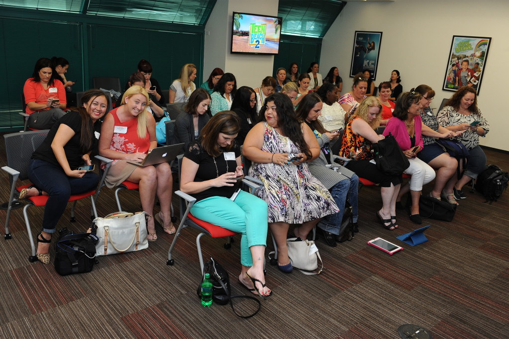 """TEEN BEACH 2 - """"Teen Beach 2"""" stars Chrissie Fit and Jordan Fisher participate in a Mom blogger event to celebrate the movie's June 26, 2015 premiere. (Disney Channel/Valerie Macon) MOM BLOGGERS"""
