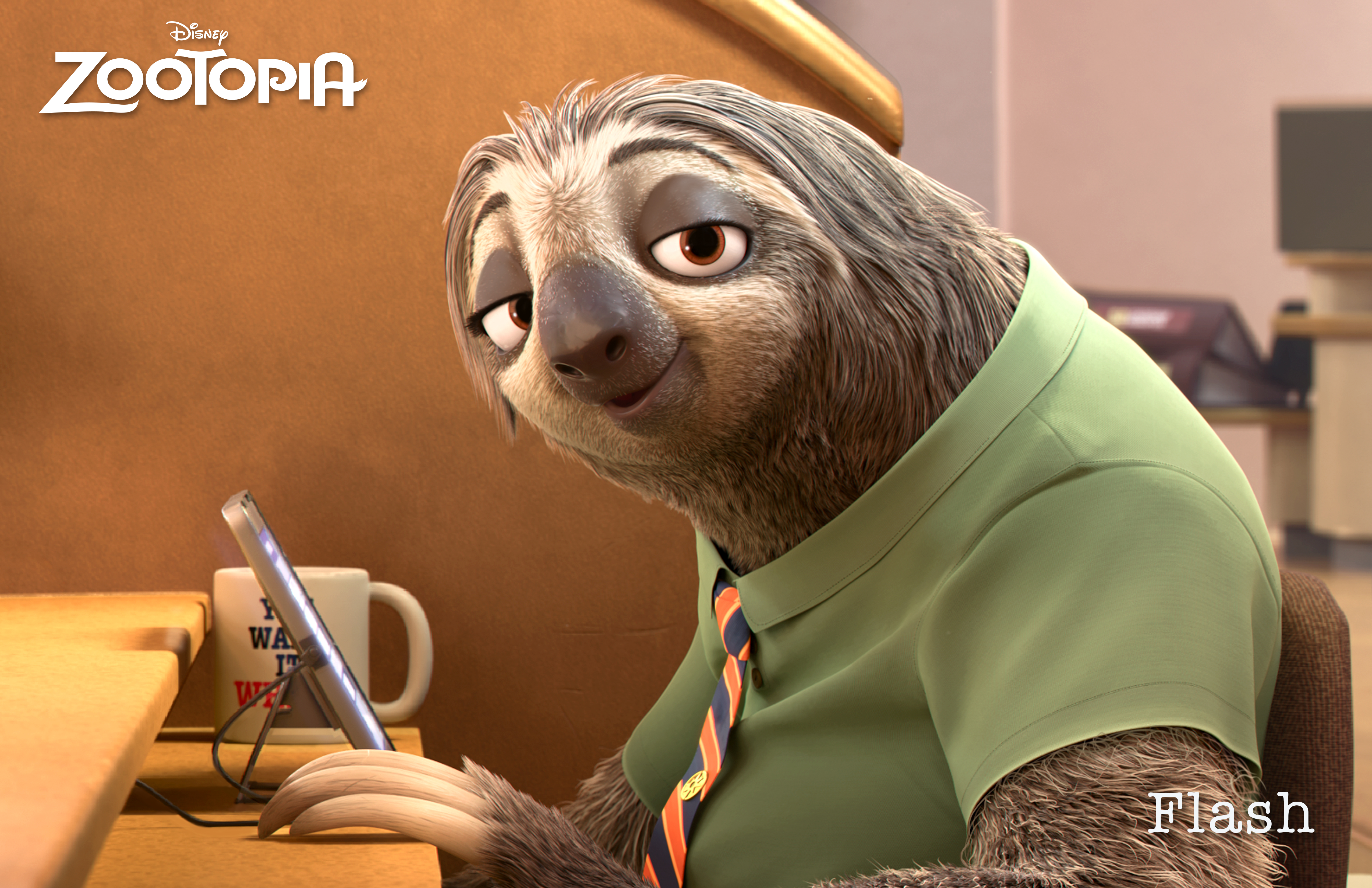 ZOOTOPIA – FLASH, the fastest sloth working at the DMV—the Department of Mammal Vehicles. ©2015 Disney. All Rights Reserved.