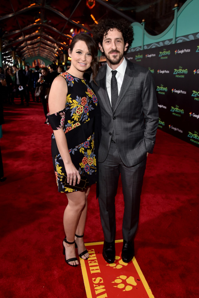 "HOLLYWOOD, CA - FEBRUARY 17: Actors Katie Lowes (L) and Adam Shapiro attend the Los Angeles premiere of Walt Disney Animation Studios' ""Zootopia"" on February 17, 2016 in Hollywood, California. (Photo by Alberto E. Rodriguez/Getty Images for Disney) *** Local Caption *** Katie Lowes; Adam Shapiro"