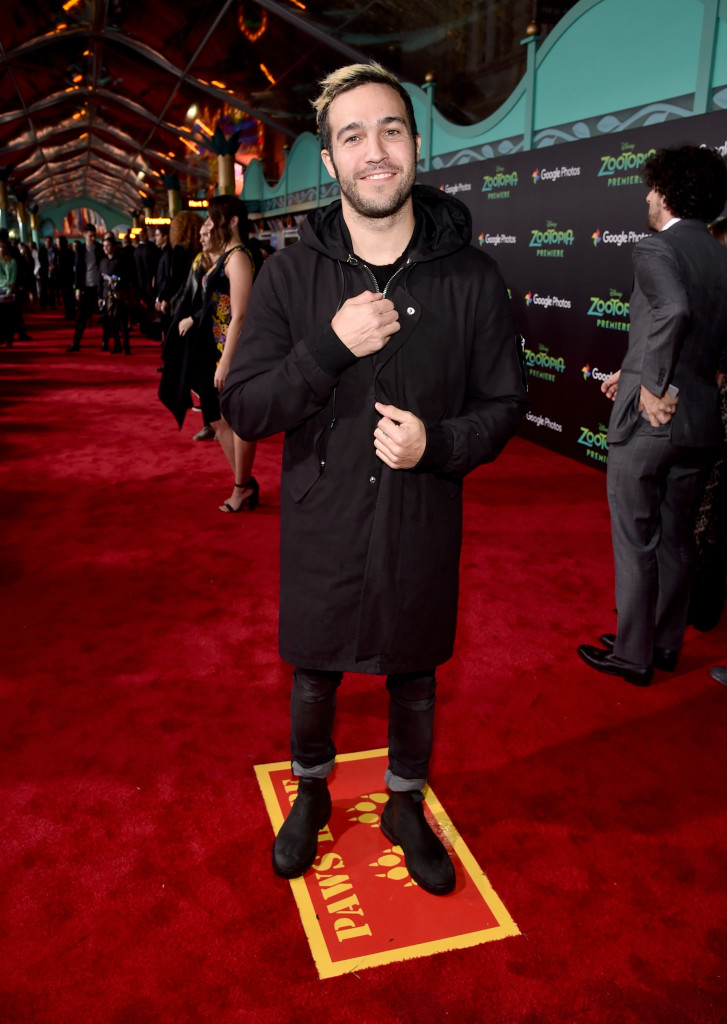 "HOLLYWOOD, CA - FEBRUARY 17: Musician Pete Wentz of Fall Out Boy attends the Los Angeles premiere of Walt Disney Animation Studios' ""Zootopia"" on February 17, 2016 in Hollywood, California. (Photo by Alberto E. Rodriguez/Getty Images for Disney) *** Local Caption *** Pete Wentz"