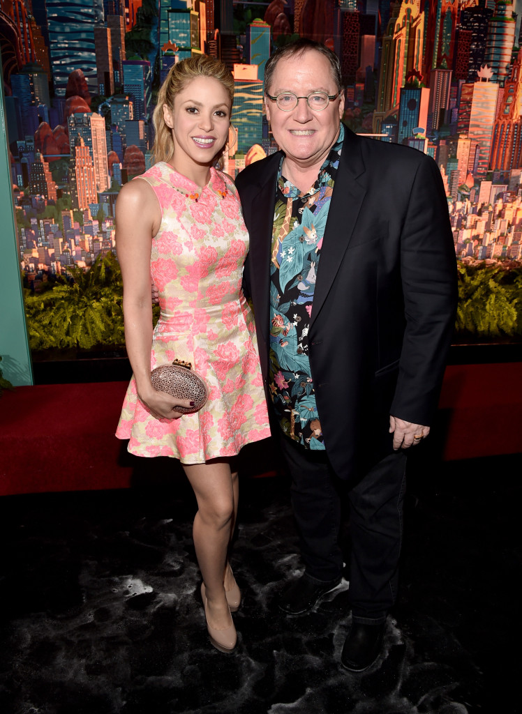 "HOLLYWOOD, CA - FEBRUARY 17: Singer Shakira (L) and executive producer John Lasseter attend the Los Angeles premiere of Walt Disney Animation Studios' ""Zootopia"" on February 17, 2016 in Hollywood, California. (Photo by Alberto E. Rodriguez/Getty Images for Disney) *** Local Caption *** Shakira; John Lasseter"