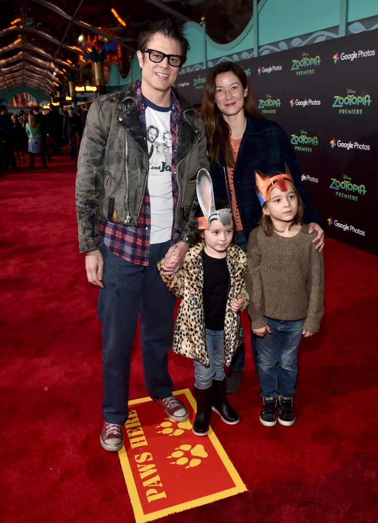 "HOLLYWOOD, CA - FEBRUARY 17: Actor Johnny Knoxville, Naomi Nelson, Arlo Clapp, and Rocko Akira Clapp attend the Los Angeles premiere of Walt Disney Animation Studios' ""Zootopia"" on February 17, 2016 in Hollywood, California. (Photo by Alberto E. Rodriguez/Getty Images for Disney) *** Local Caption *** Johnny Knoxville; Naomi Nelson; Arlo Clapp; Rocko Akira Clapp"