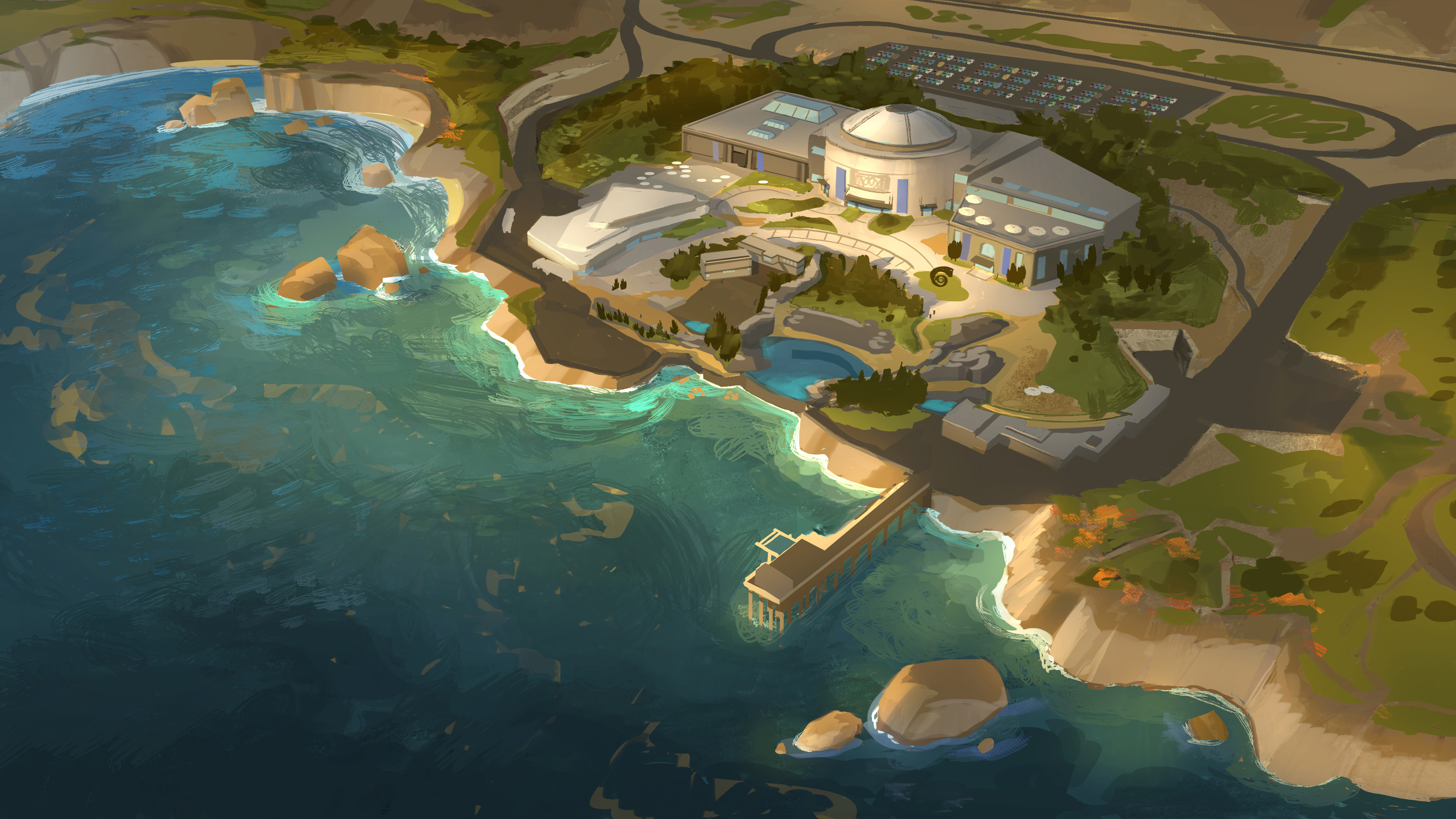 FINDING DORY – MLI Overview Painting (Concept Art) by Artist Tim Evatt. ©2016 Disney•Pixar. All Rights Reserved.