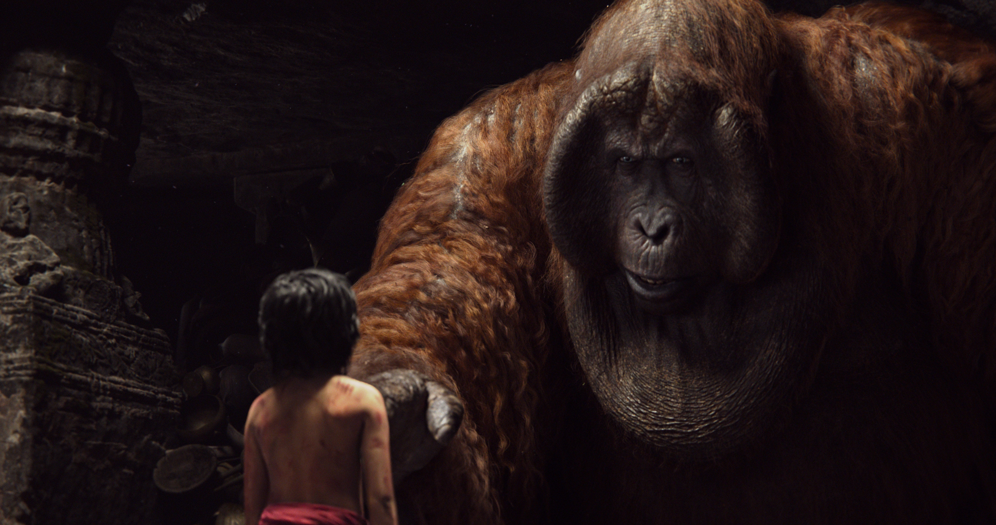 THE JUNGLE BOOK - (Pictured) MOWGLI and KING LOUIE ©2015 Disney Enterprises, Inc. All Rights Reserved.