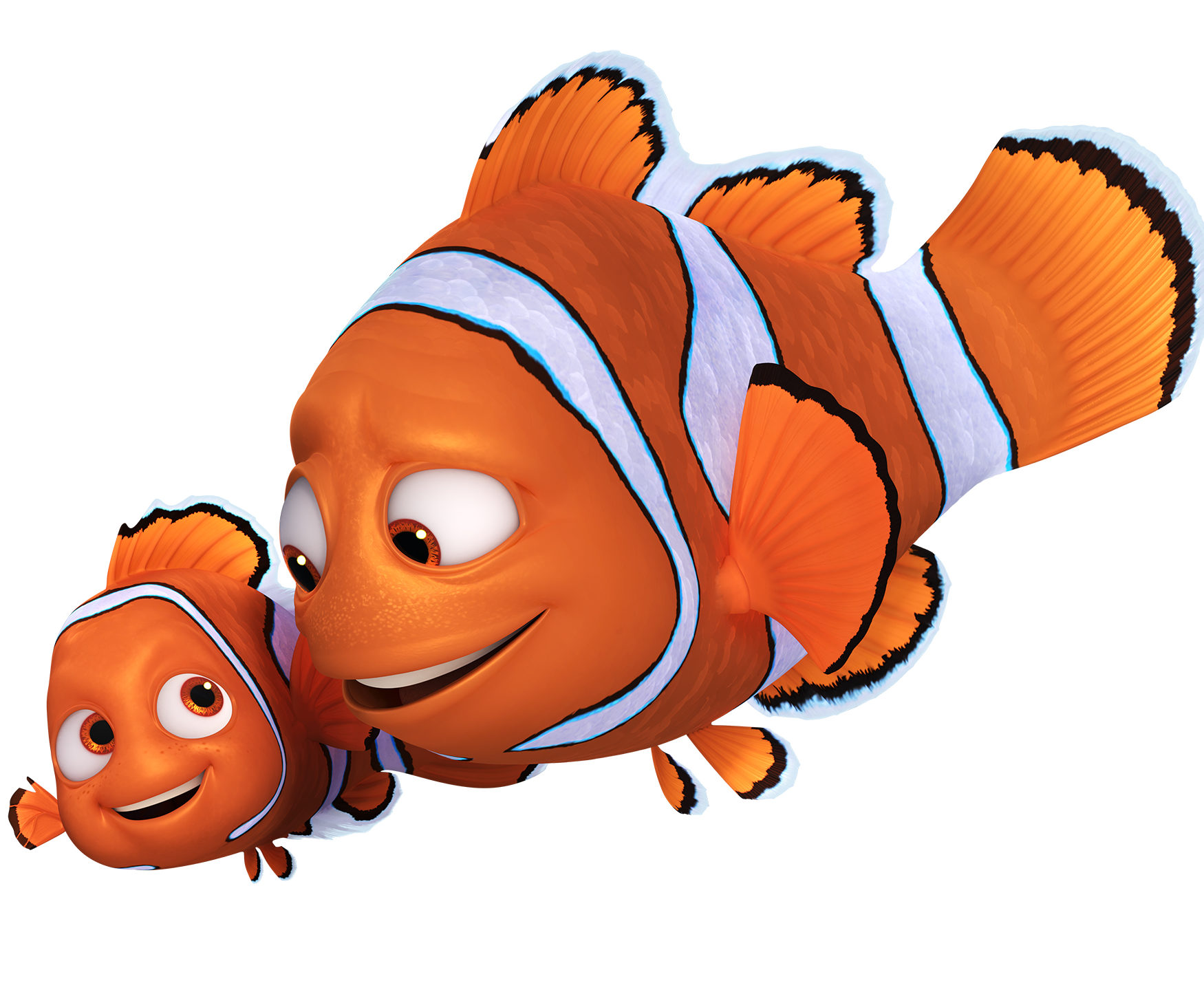 FINDING DORY - Pictured (L-R): One year after his big overseas adventure, NEMO (voice of Hayden Rolence) is back to being a normal kid: going to school and living on the coral reef with his dad and their blue tang neighbor, Dory. His harrowing adventure abroad doesn't seem to have sapped his spirit. In fact, when Dory remembers pieces of her past and longs to take off on an ambitious ocean trek to find her family, Nemo is the first to offer his help. He may be a young clownfish with a lucky fin, but Nemo wholeheartedly believes in Dory. After all, he understands what it's like to be different. MARLIN (voice of Albert Brooks) may have traveled across the ocean once, but that doesn't mean he wants to do it again. So he doesn't exactly jump at the opportunity to accompany Dory on a mission to the California coast to track down her family. Marlin, of course, knows how it feels to lose family, and it was Dory who helped him find Nemo not so long ago. The clownfish may not be funny, but he's loyal—he realizes he has no choice but to pack up his nervous energy and skepticism and embark on yet another adventure, this time to help his friend. ©2016 Disney•Pixar. All Rights Reserved.