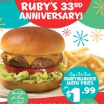 Ruby's Celebrates its 33rd Anniversary with $1.99 Burgers | @RubysDiner #Rubys33rd